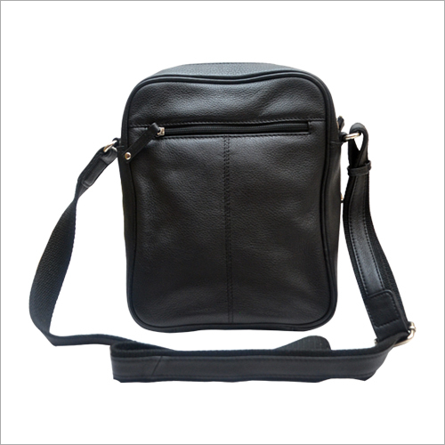 Unisex Black Leather Sling Bag