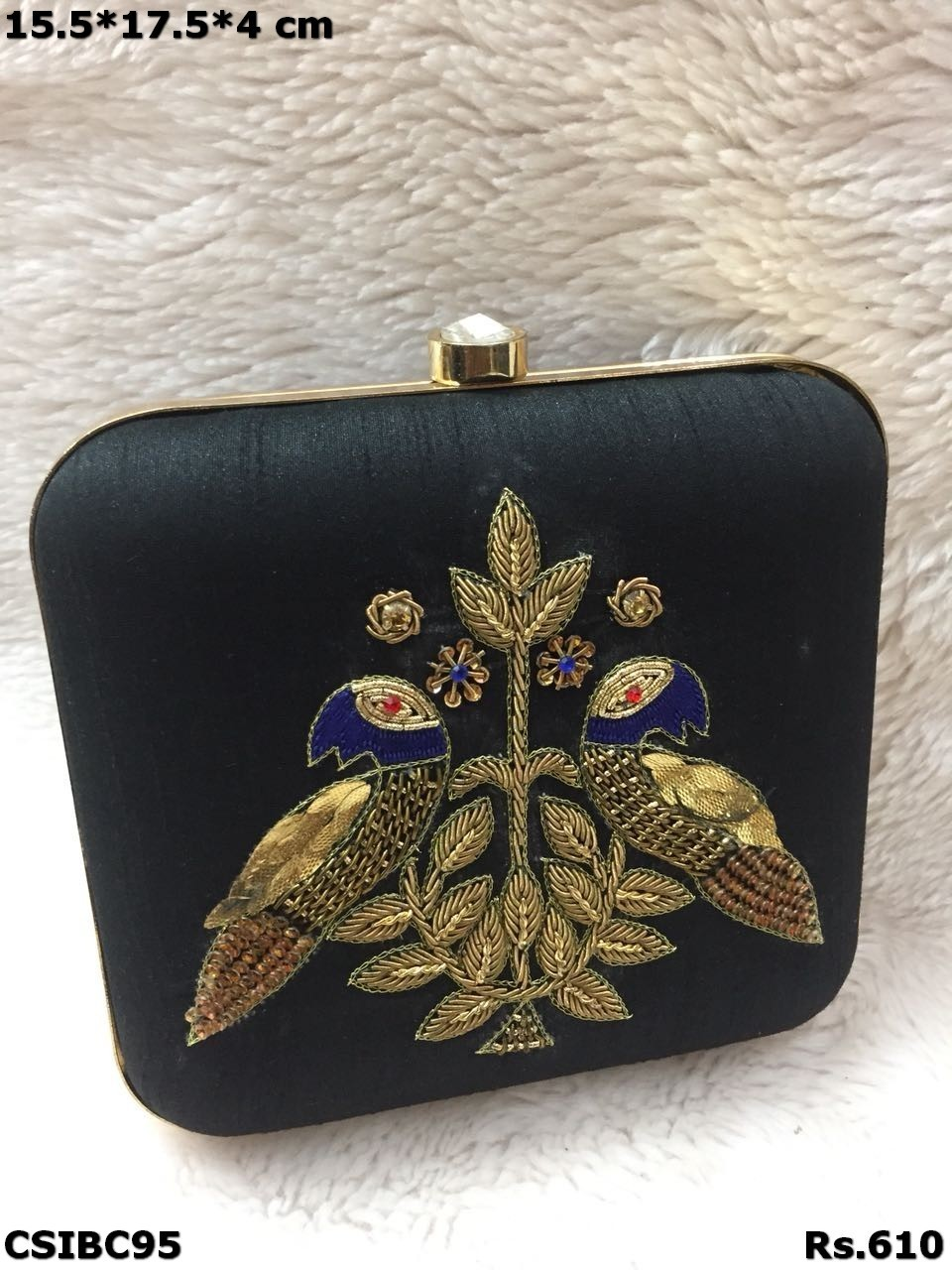 Peacock printed box clutch