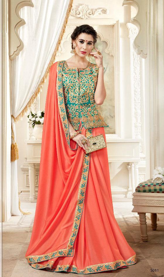 Sethnic orange 5007 heavy silk border saree full embroidered long jacket blouse