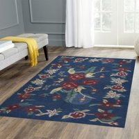 Red Rose Cotton Wool Rug