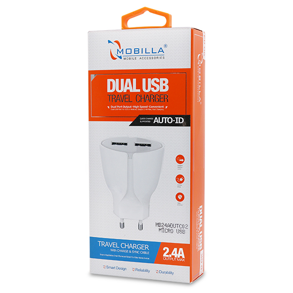 Mobilla 2.4A Dual USB Travel Charger