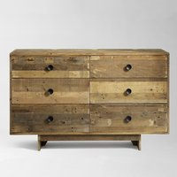 Reclaimed Wood 6 Drawer Dresser Natural Cabinet