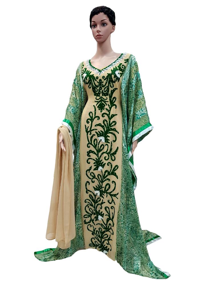 Ladish Kaftan Beige And Green Color