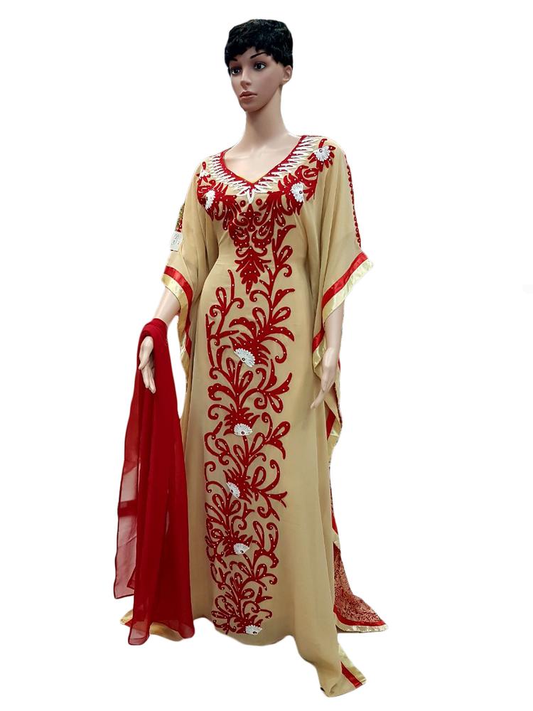 Ladise Kaftan Beige and Red Color