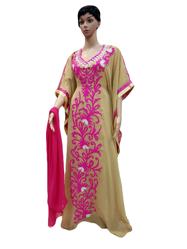 Ladies Kaftans for woman with Beige and Pink Color