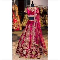 Red Velvet Designer Lehenga