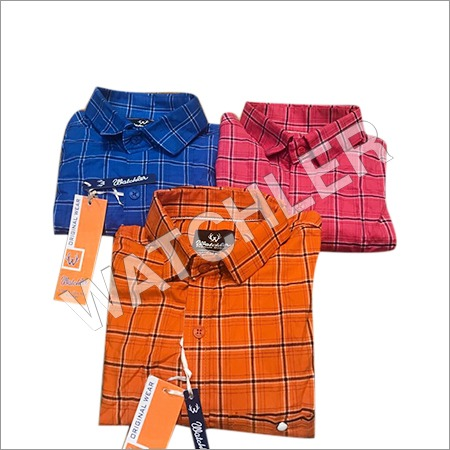 Mens Peaching Check Shirts