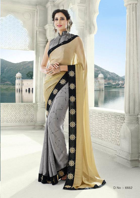 Saree exotica 6661-6672 georgette saree catalog with border work