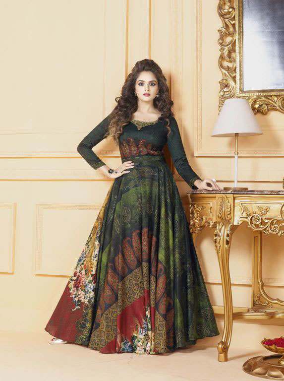 Saree exotica vol 4 gowns in silk 5501-5511 catalog for wholesale