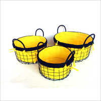 Ivory Liner Round Metal Basket
