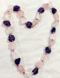 Amehtyst Rose Quartz Fusion Necklace