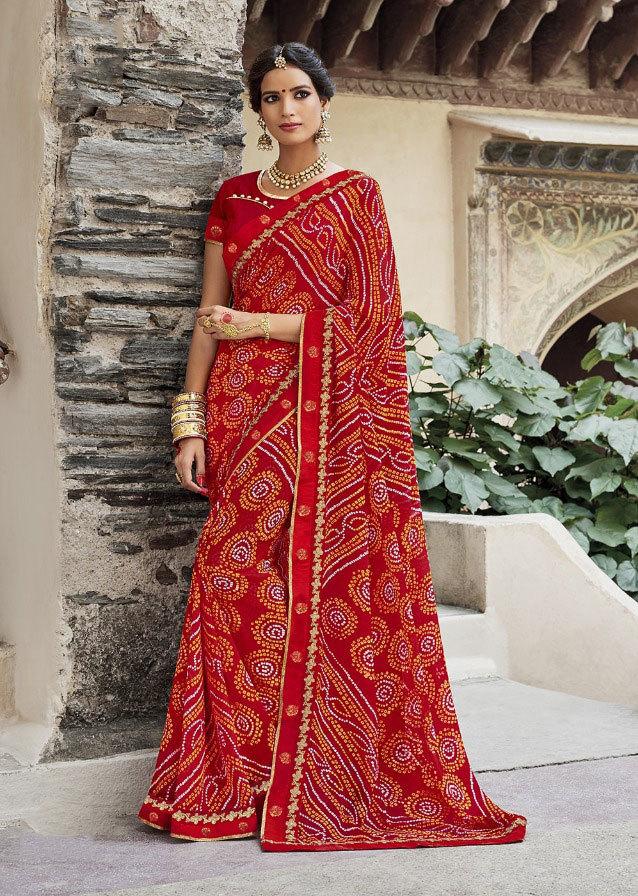 sethnic designer blouse with printed bandhej sarees from jaipur