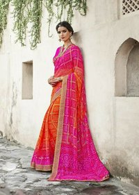 sethnic designer blouse with printed bandhej sarees from jaipur