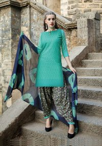 Sethnic cotton dress material wholesaler in surat chikan work suits