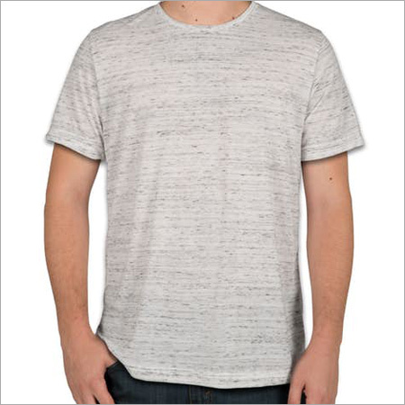 Mens Cream Milange Round Neck T-Shirt