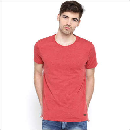 Mens Red Milange T-Shirt