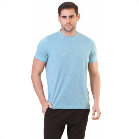 Mens Sky Blue Milange T-Shirt