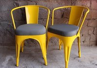 Industrial stack able metal chair with fabric