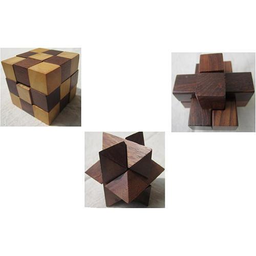 3 Wooden Puzzles Set