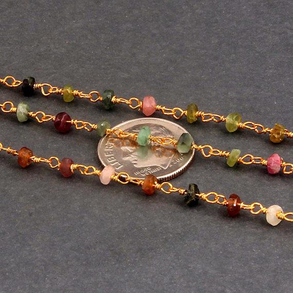 Multi Tourmaline Beaded Chain