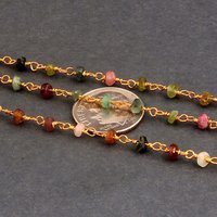 Multi Tourmaline Beaded Chain