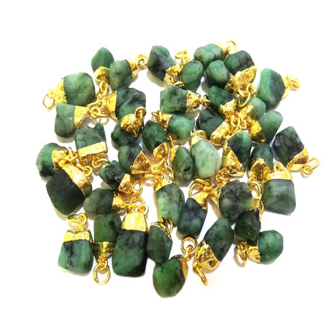 Gemstone Raw Gold Electroplated Cap Pendant