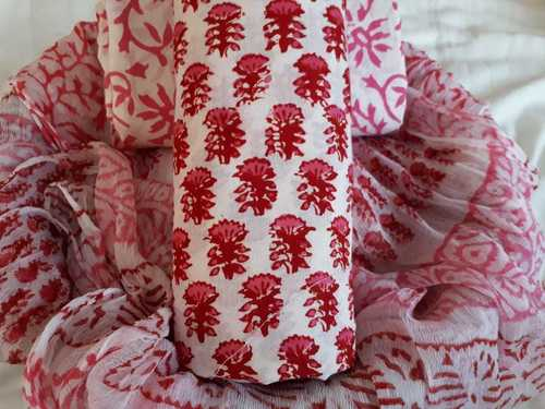 Cotton Suit With Chiffon Dupatta