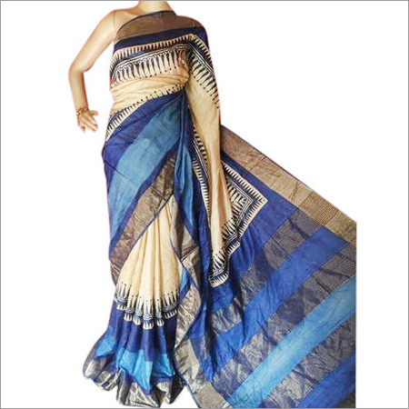 Zari Border Tussar Silk Saree