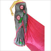 Ladies Party Wear Hand Painted Pure Silk Saree
