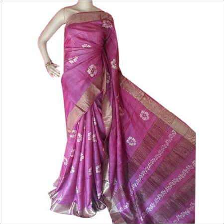 Ladies Zari Border Tussar Silk Saree