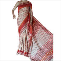 Ladies Silk Hand Block Printed Saree