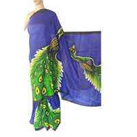 Ladies Hand Painted Cotton Saree