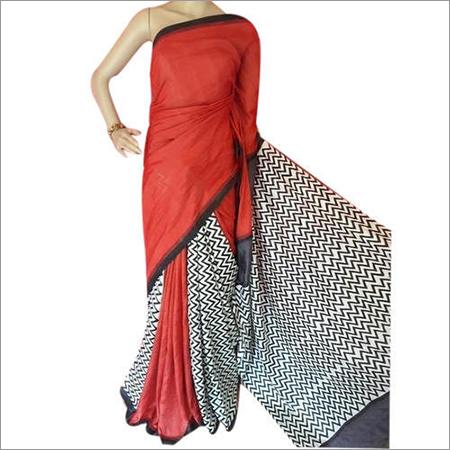 Party Wear Hand Block Printed Silk Saree