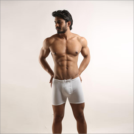 Mens White Elastic  Brief