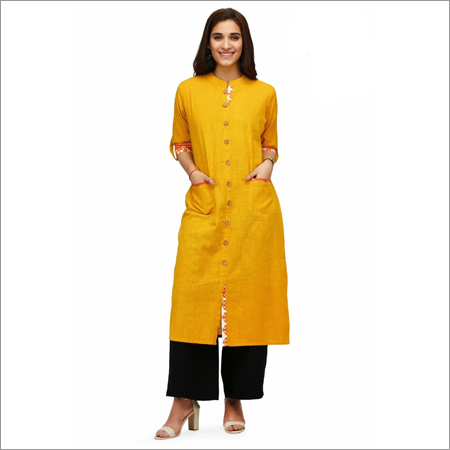 Ladies Yellow Cotton Kurti