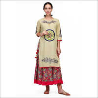 Ladies Beige Kurti With Skirt