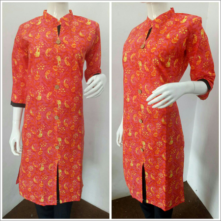 Ladies Orange Collar Kurti