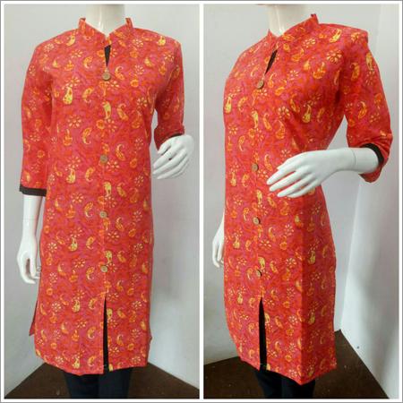Ladies Orange Collar Kurti
