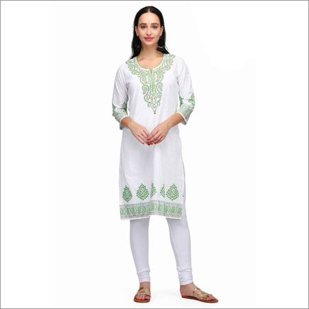Ladies White Cotton Kurti