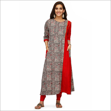 Double Layer Block Print Kurti