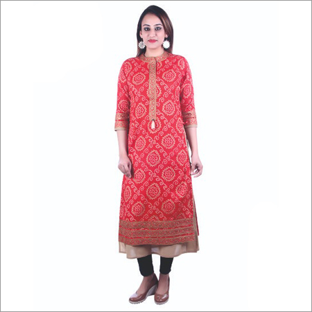 Ladies Orange Double Layer Kurti