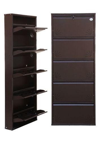 4 Door Full Dark Brown Metalic Shoe Rack