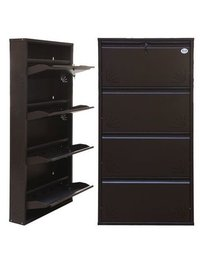 4 Door jumbo Dark Brown Metalic Shoe Rack