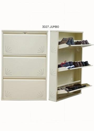 3 Door Full Ivory Color Metalic Shoe Rack