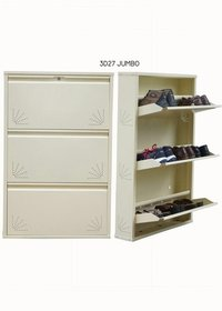 3 Door Full Ivory Color Metalic Shoe Rack