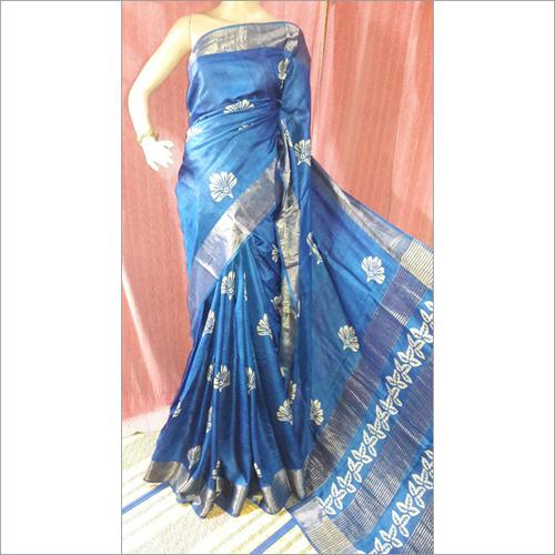 Zari Blue Tussar Saree