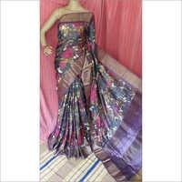Zari Printed Tussar Saree