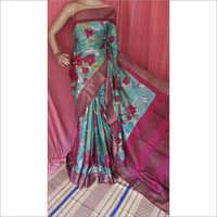 Floral Print Zari Tussar Saree