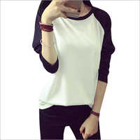 T-shirt Women Raglan Color Loose Full Sleeve