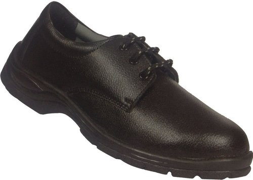 Leather Black Safety Shoes with Protective Basic, Non-Metal Compostie Midsole, Steel Midsole
